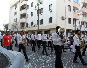 Boy Scouts marching band in a culture parade in Benghazi, 2012
