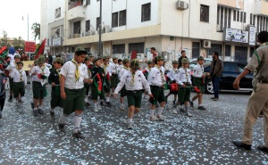 Benghazi Boy Scouts, marching during a culture parade in the city. Not pictured: Flip flops